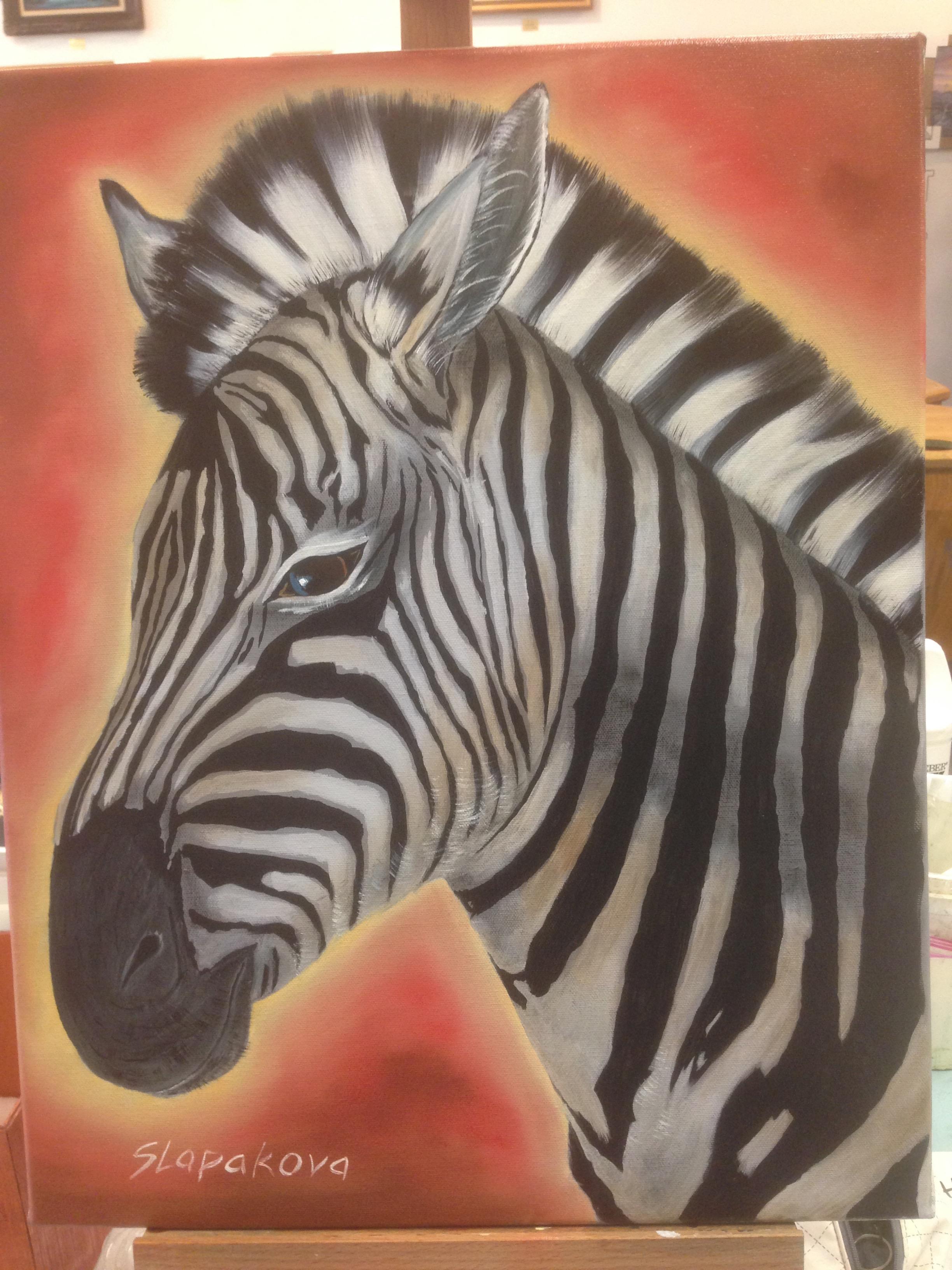 Zebra- olejomalba, 40 x 50 cm