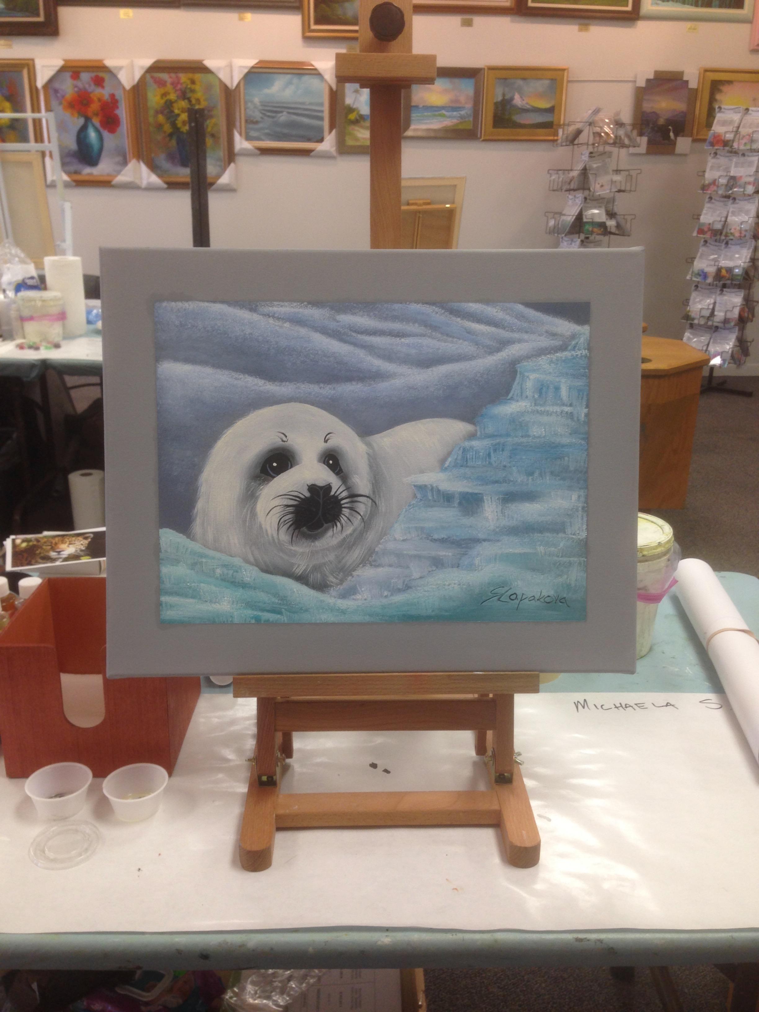 Tuleň - olejomalba, 40 x 50 cm