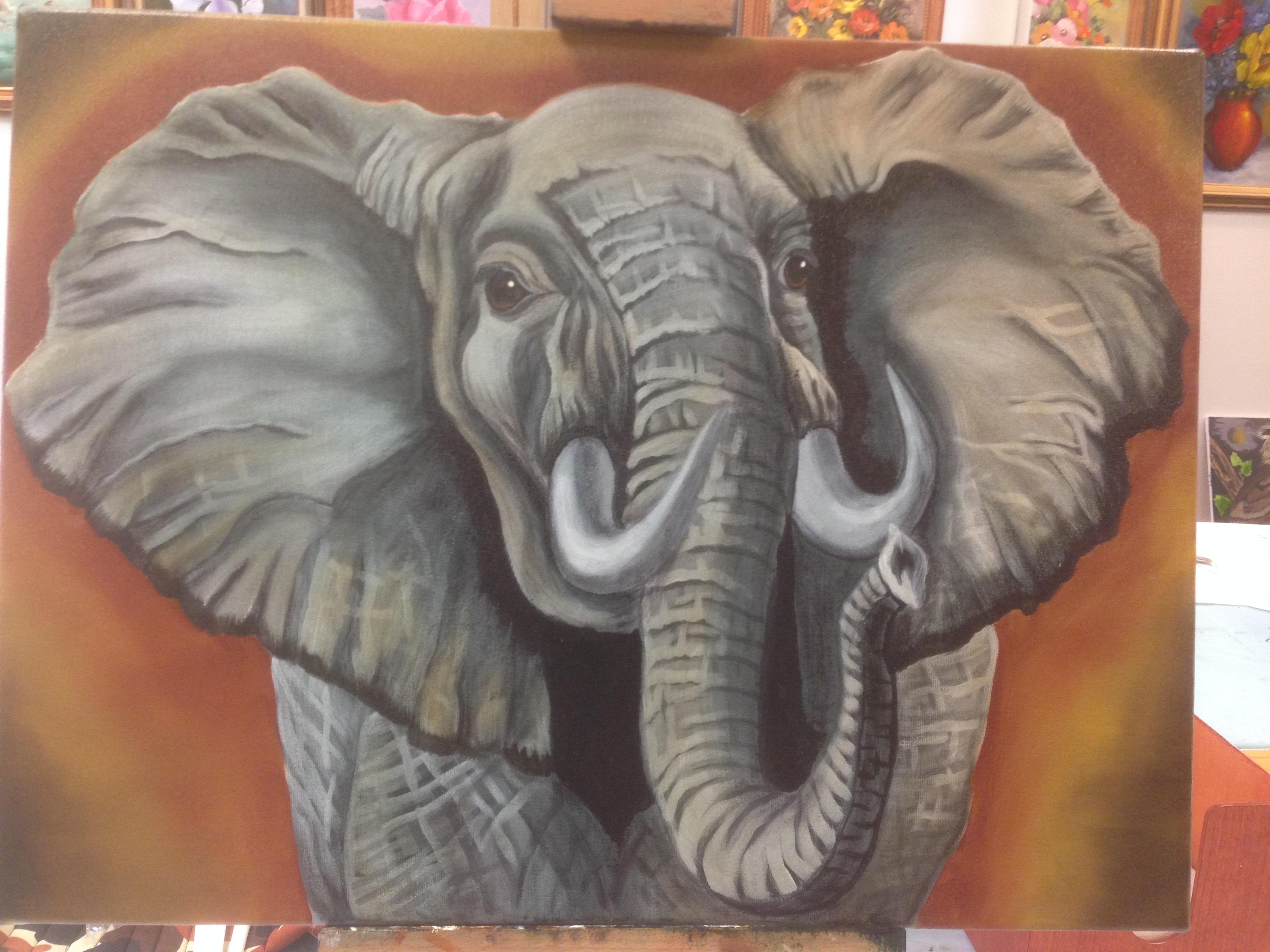 Slon - olejomalba, 40 x 60 cm