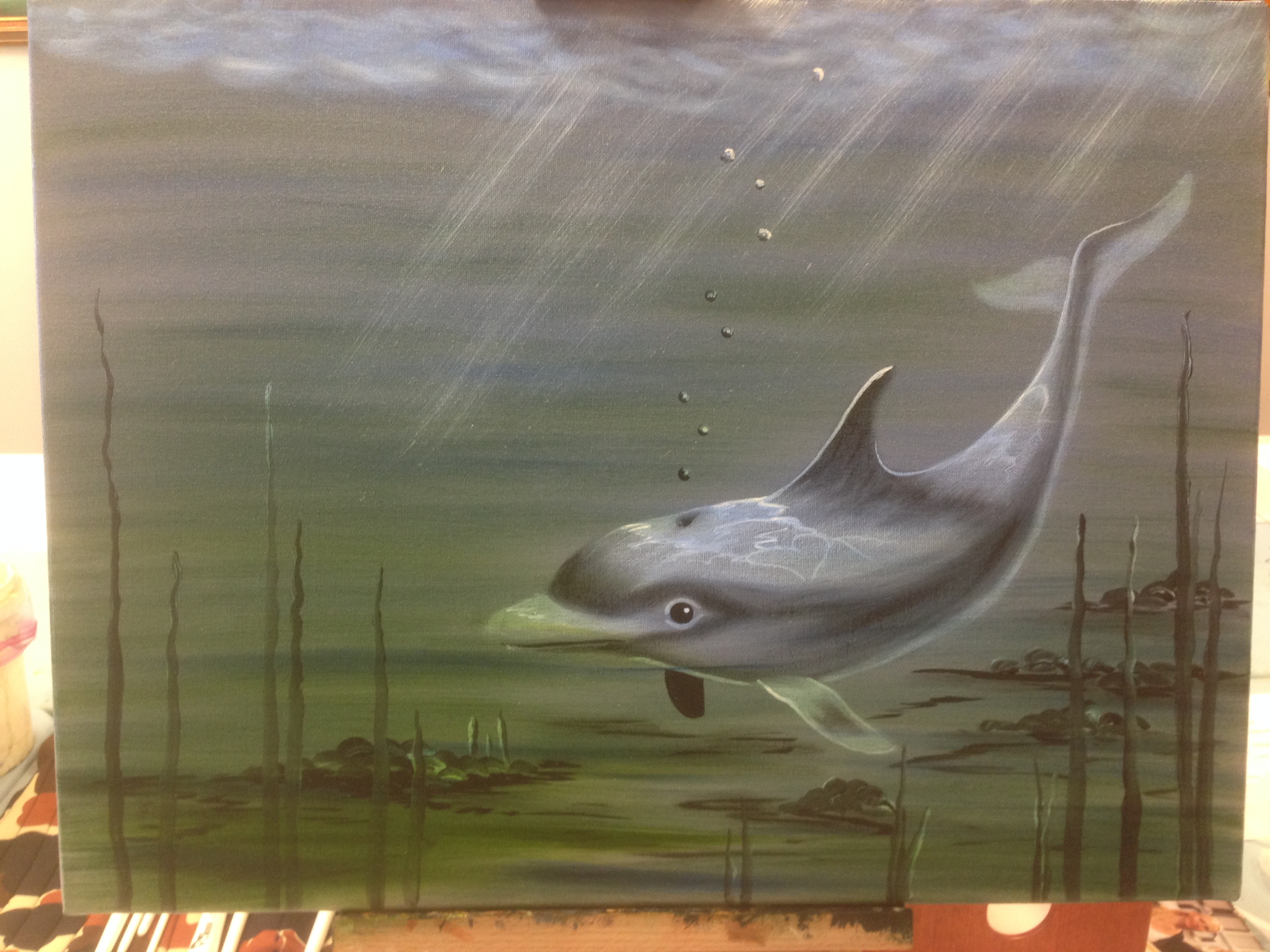 Delfín - olejomalba, 40 x 50 cm