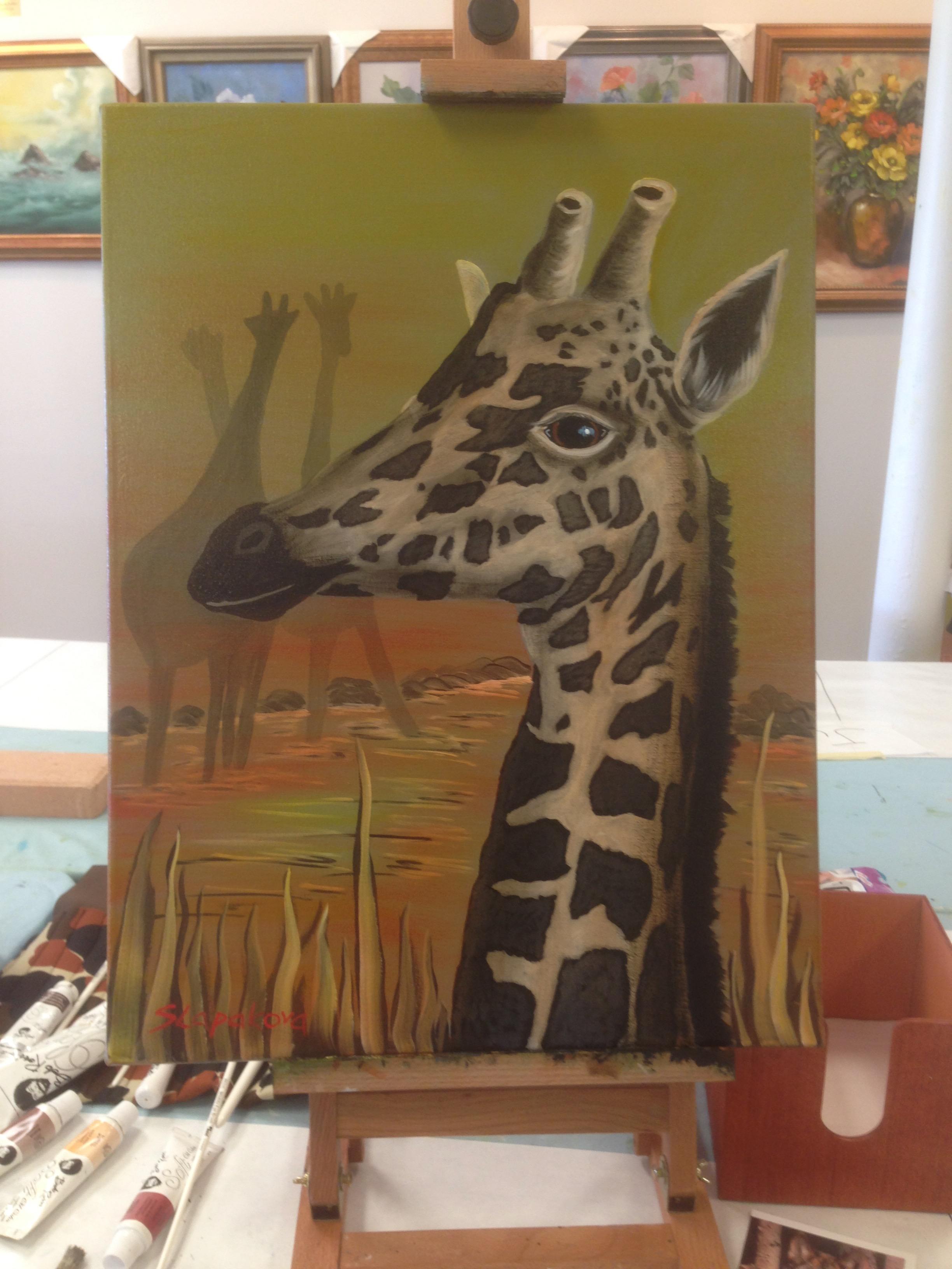 Žirafy - olejomalba, 40 x 60 cm